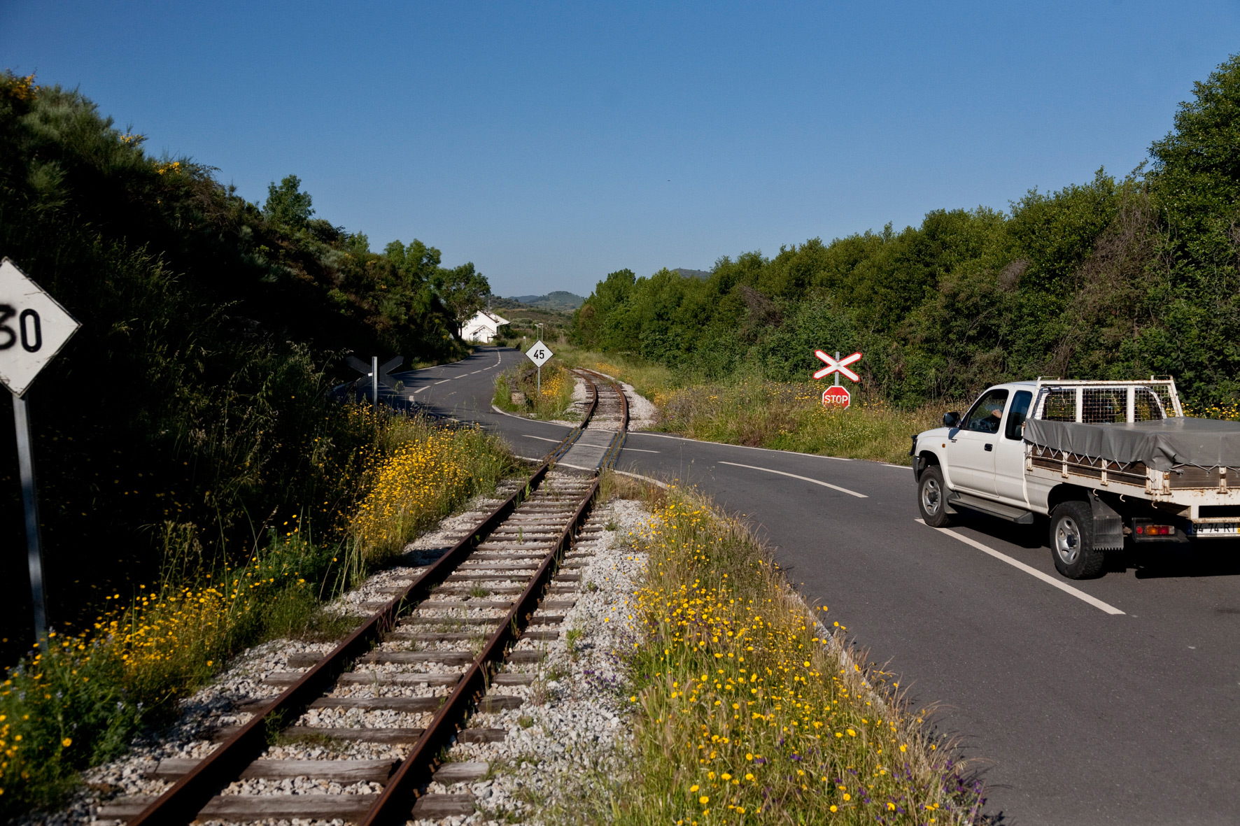 Portugal, Trâs-os-Montes. 2010. Railway crossing of the derelict Tua line.