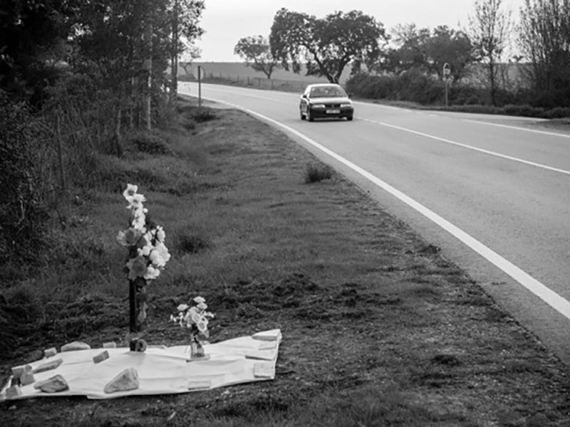Portugal, Alentejo, near Viana do Alentejo. 2011. Road memorial along the N257 road.