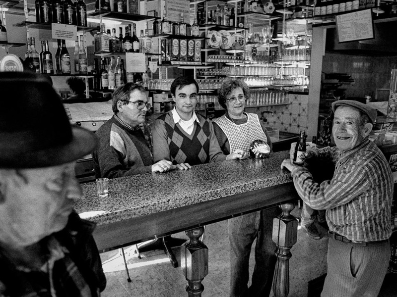 Portugal, Alentejo. 1998. The local pub in Aldeia da Luz village, months before this village was evacuated and taken down due to the rising water of the Alqueva artificial lake.