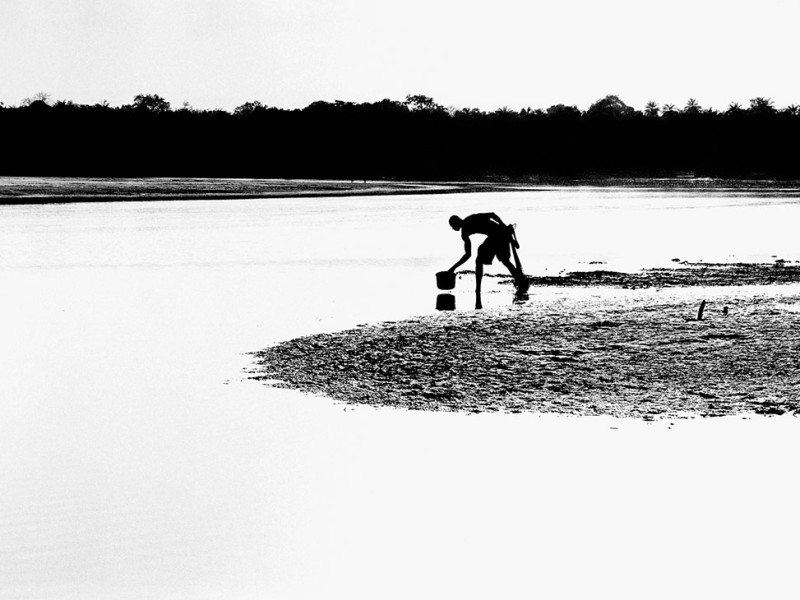 Guinea-Bissau, São Domingos, 2005. A fisherman washes his catch in the River Cacheu at sunset.