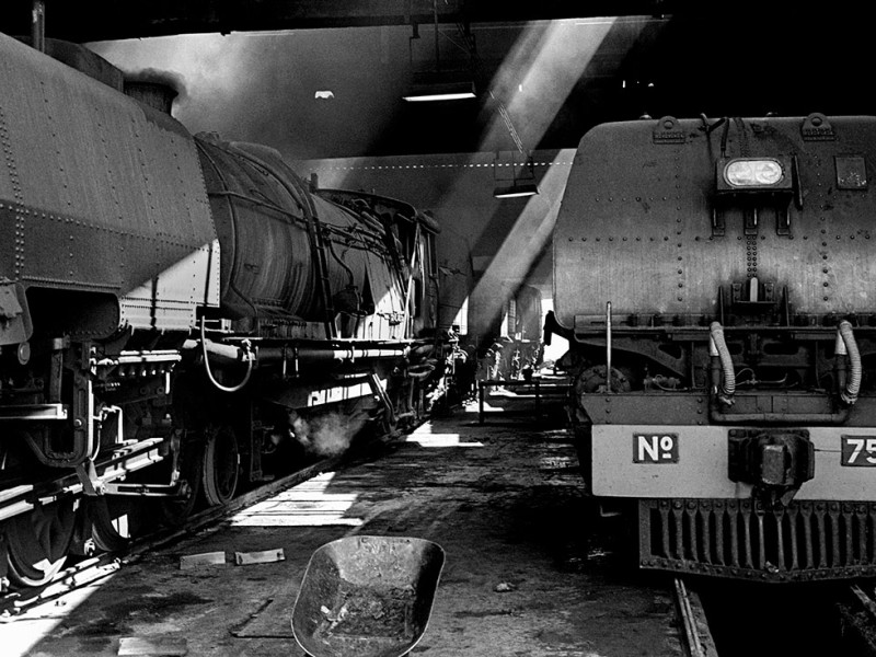 Zimbabwe, Bulawayo. 1986. Garratt steam locomotives at the National Railways of Zimbabwe (NRZ) repair shop.