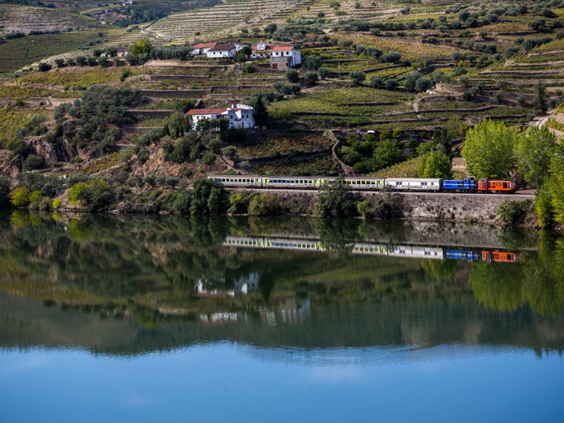 Portugal, Douro valley, near Pinhão. 2013. The railway line between Porto and Pocinho. Built in 1883 and still operational.