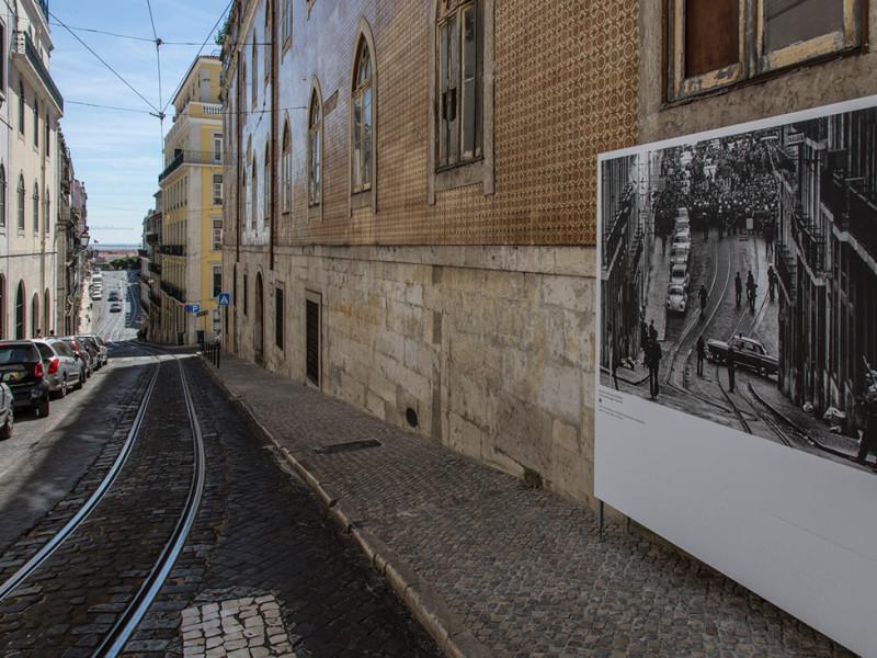Portugal, Lisbon, Chiado, Rua Vítor Cordon. 2014. A street photo exhibition commemorates the successful 25 April 1974 rebellion against the dictatorship on the same location.