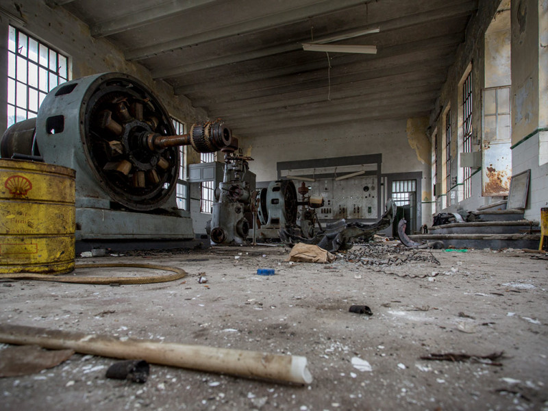 Portugal, Beira Litoral, Casal do Ermio. 2014. The control room of the  abandoned hydro-electric power station.
