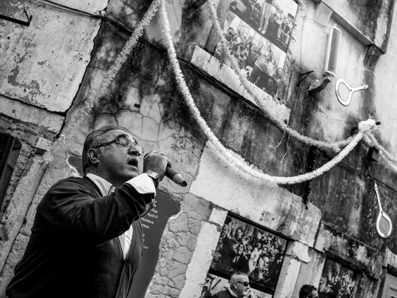 Portugal, Lisbon. 2013. Open-air Fado performance in the neighbourhood of Mouraria, home to Fado music.