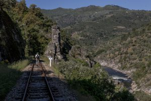 Portugal, Alto Douro, near São Lourenço (marker 15). 2010. The Tua railway along the valley of River Tua. Six years before this natural river was turned into a storage reservoir.